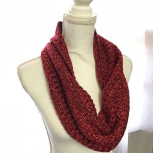 Red with Gold / Silver Sparkle Infinity Scarf